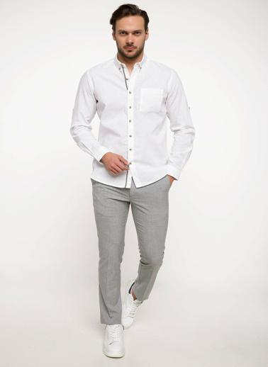 DeFacto Keten Karışım Tek Cep Gömlek Beyaz